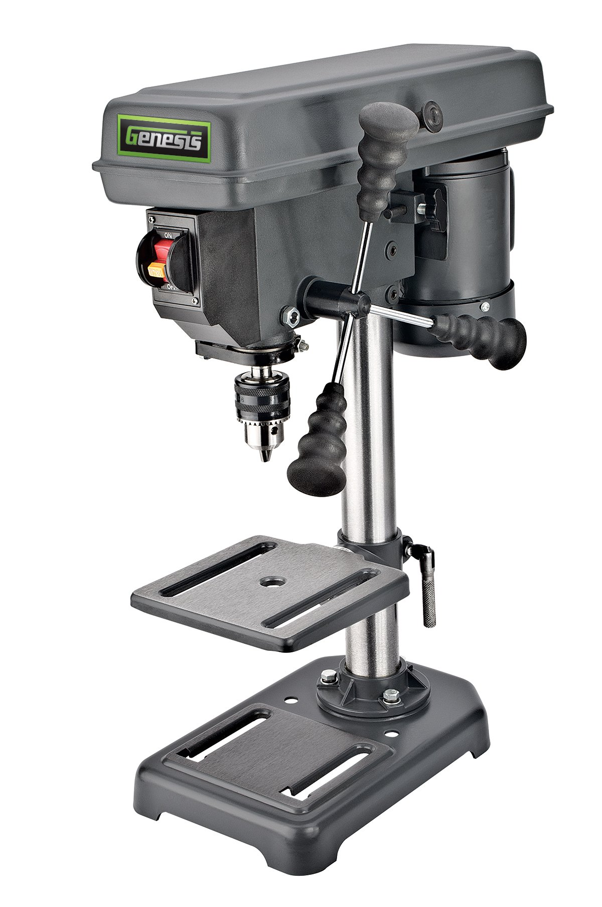 Genesis GDP805P 8 In. 5-Speed 2.6 Amp Drill Press with 1/2 In. Chuck & Tilt Table, by Genesis