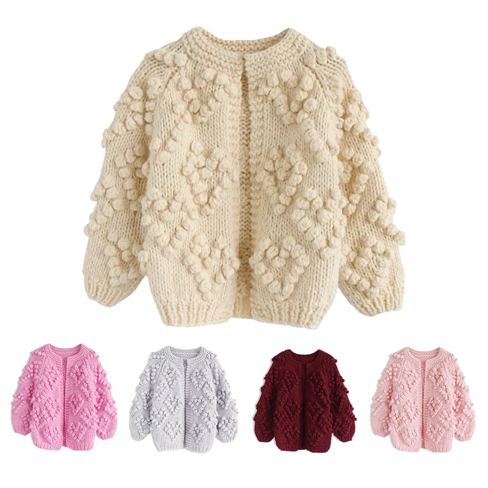 Chicwish Girl's Soft Heart Shape Balls Hand Knit Long Sleeve Ivory Beige Sweater Cardigan Coat, Ivory, 5-6YR (116cm) by Chicwish (Image #5)