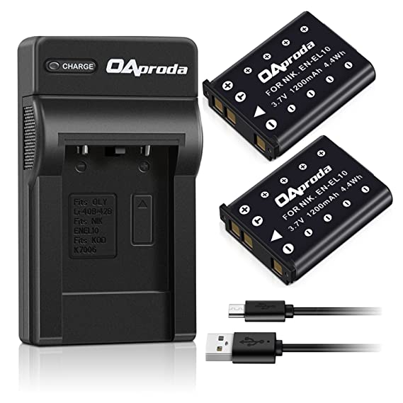 OAproda 2 pack EN EL10 Battery and High Efficient Micro USB Battery Charger for Nikon ENEL10, Coolpix S60 S80 S5100 more Digital Camera, MH 63 Charger
