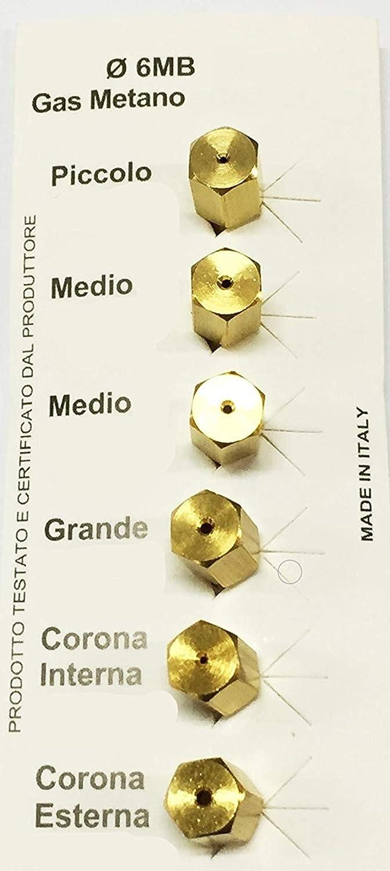 0,80 0,90 0,90 1,00 1,30 UGELLI Universali per gas METANO passo 6MB misure