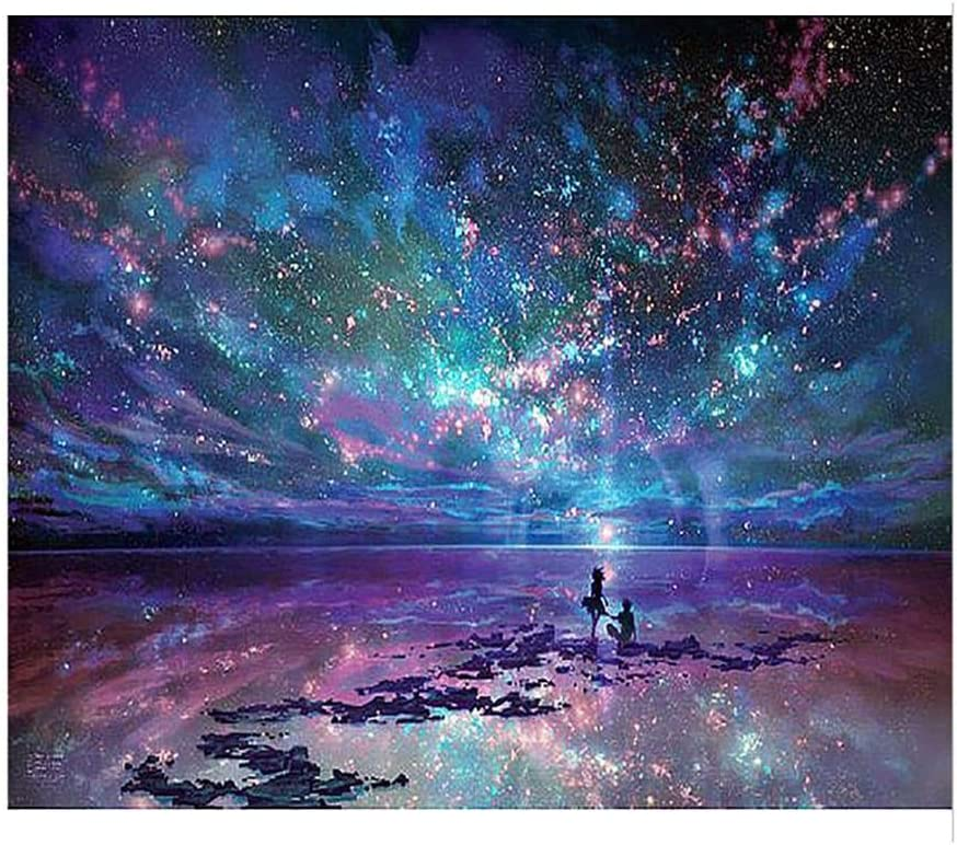Goodfans Household DIY Beautiful Aurora Landscape Diamond Painting Kit Cross Stitch Kit Cross-Stitch