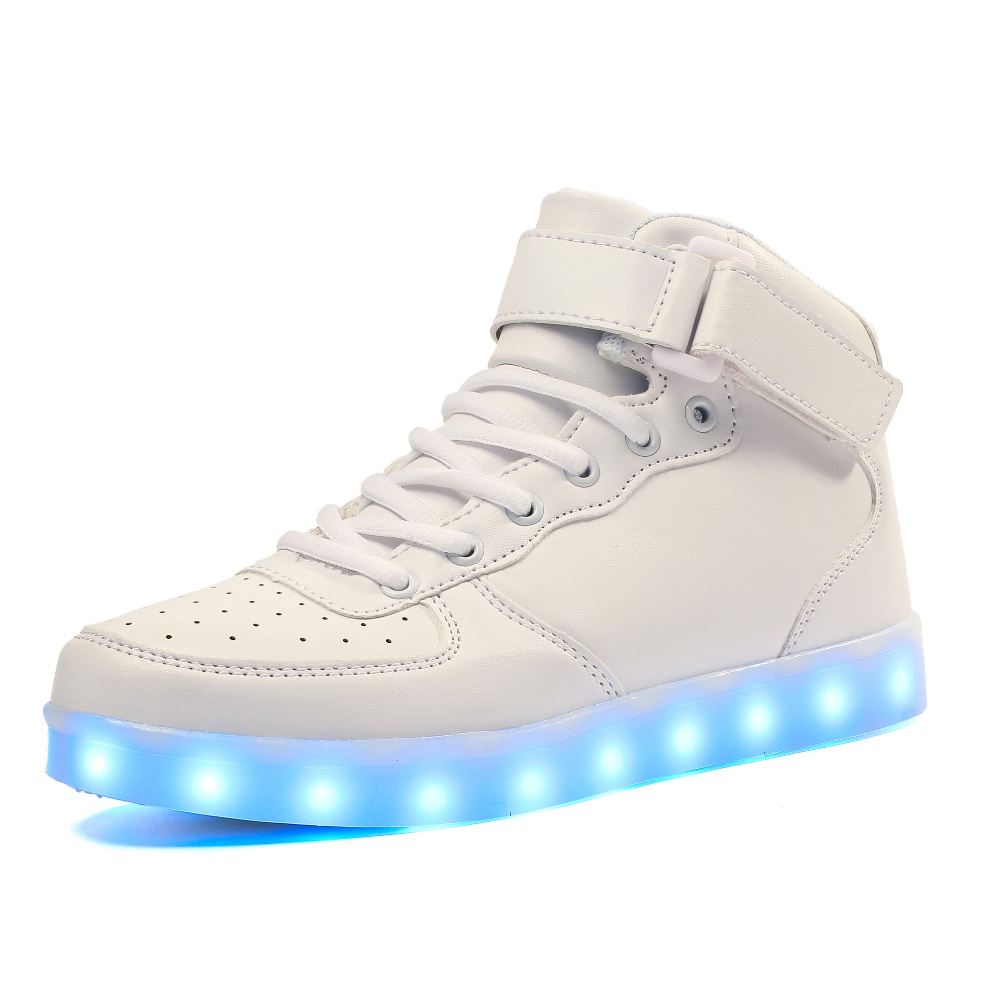 Voovix Kids LED Light Up Shoes USB Rechargeable Flashing High-top Sneakers with Remote Control for Boys and Girls(White.US3.5/CN36)