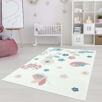 Moderner Kinderzimmer Teppich für das Kinderzimmer Pastel Öko Tex 100  zertifiziert INP-5785-creme Käferwiese 80x150 cm