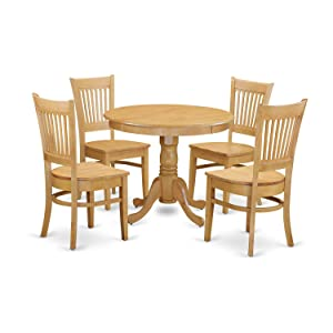 East West Furniture ANVA5-OAK-W 5 Piece Kitchen Table and 4 Chair Set