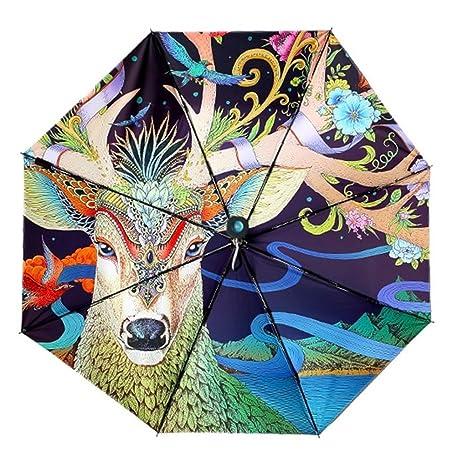 6f9db65dfb82 REALBRELLA ART Designer Umbrella, Compact Waterproof, Windproof, Anti-UV  Fiberglass Travel Umbrella Rain/Sun Umbrella with Flashlight Handle
