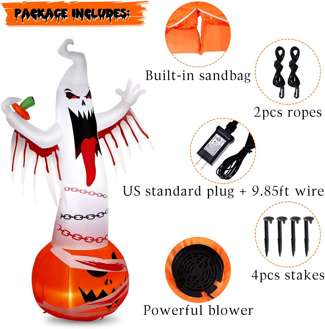 Halloween Inflatables Ghost Decorations, 8 FT Halloween Blow Up Party Decoration for Outdoor Yard Lawn Garden