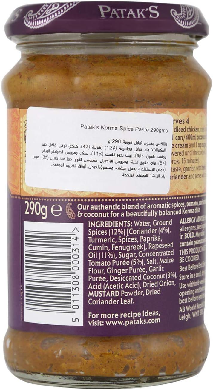 Pataks Pasta para Curry Korma - 290 gr: Amazon.es: Alimentación y ...