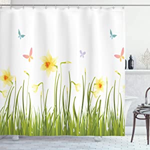 Ambesonne Daffodils Shower Curtain, Daffodil Field with Butterflies Meadow and Grass Springtime Park Easter Print, Cloth Fabric Bathroom Decor Set with Hooks, 70