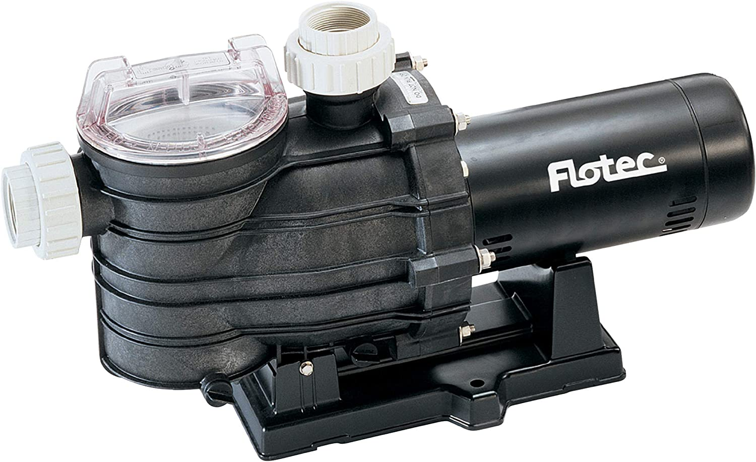Flotec AT251501 In-Ground Pool Pump, 1-1/2 HP, Corrosion Resistant Thermoplastic, Large Capacity Trap With See-Through Lid, 112GPM, 32PSI, 2-In Suction/Discharge Pipe, Adjustable 115V or 230V