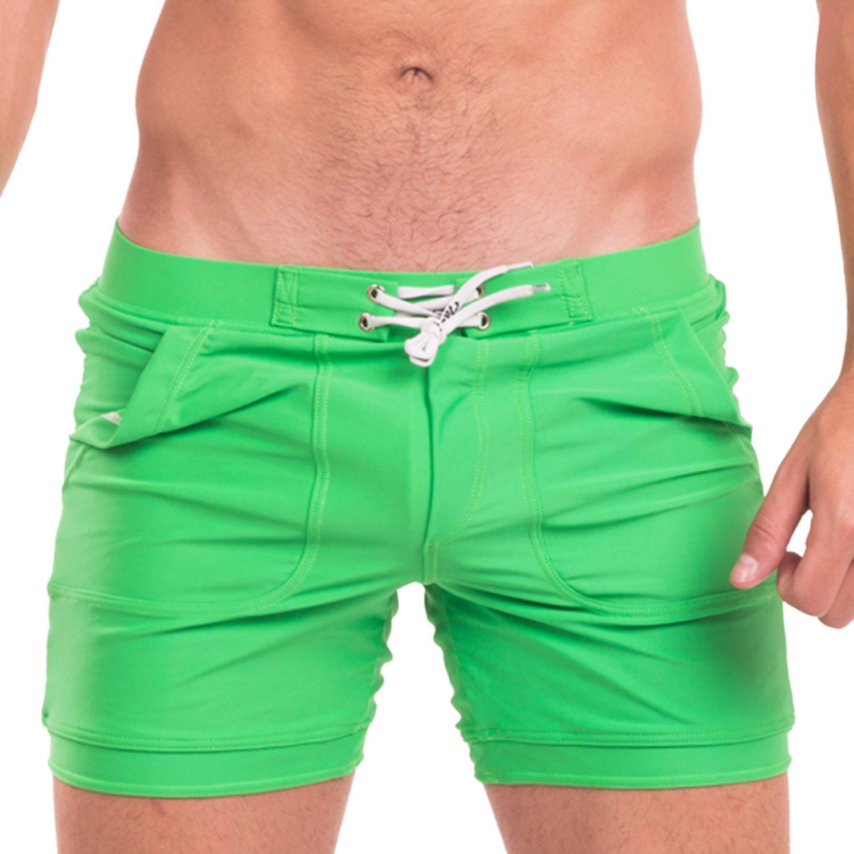Taddlee Mens Swimwear Swimsuits Swim Boxer Briefs Trunks Long Surf Board Shorts (L)