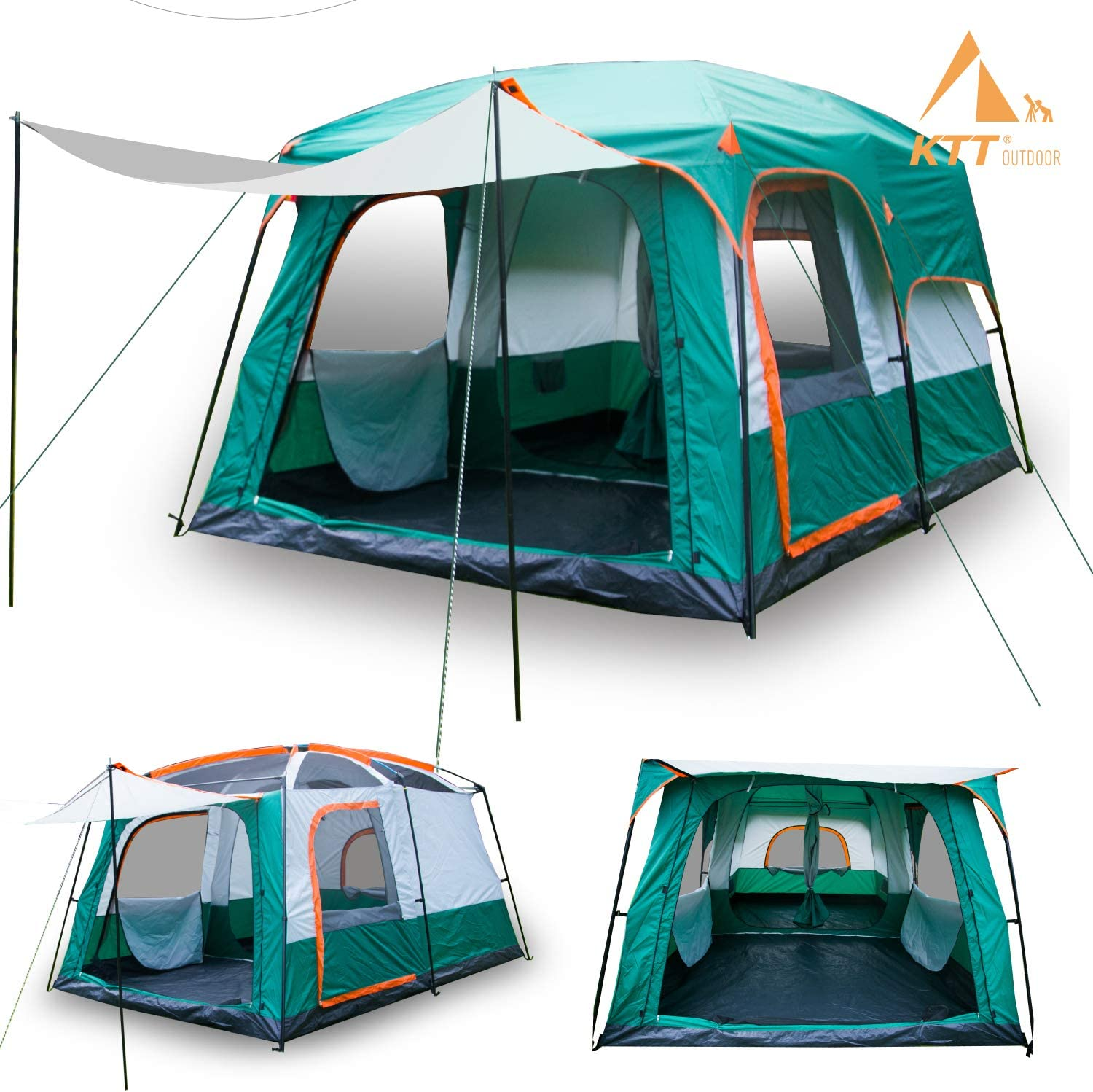 Amazon.com : KTT Large Tent 8~10 Person, Family Cabin Tents for Camping, Waterproof, 2 Rooms, Double Layer, 3 Doors and 3 Window with Mesh, Big Tent for Outdoor, Picnic, Camping, Family, Friends