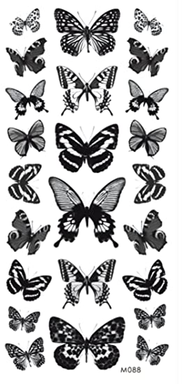 63028bc17 Image Unavailable. Image not available for. Color: black butterflies  temporary tattoo ...