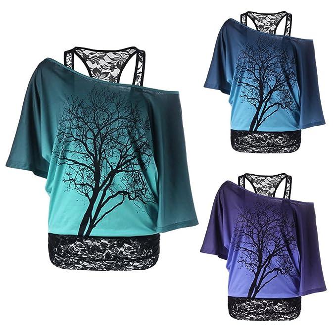 Damen Tshirt Set Langarm Sweatshirt + Spitze Weste - Hibote Frauen 2 Stück  Shirts Sexy Shulterfrei dc5b356d3b