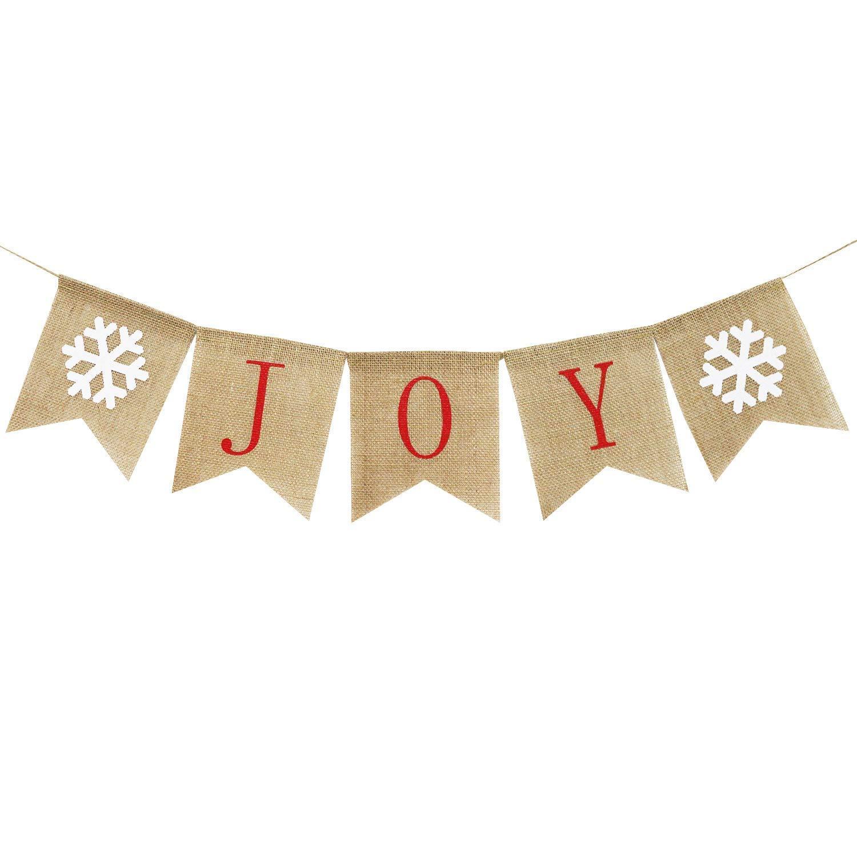 JINMURY 黄麻布ジョイバナー クリスマス黄麻布バンティングバナー 素朴なクリスマスデコレーション ホームマントル 暖炉装飾 ホリデーパーティーデコレーション   B07JGHSBQ5