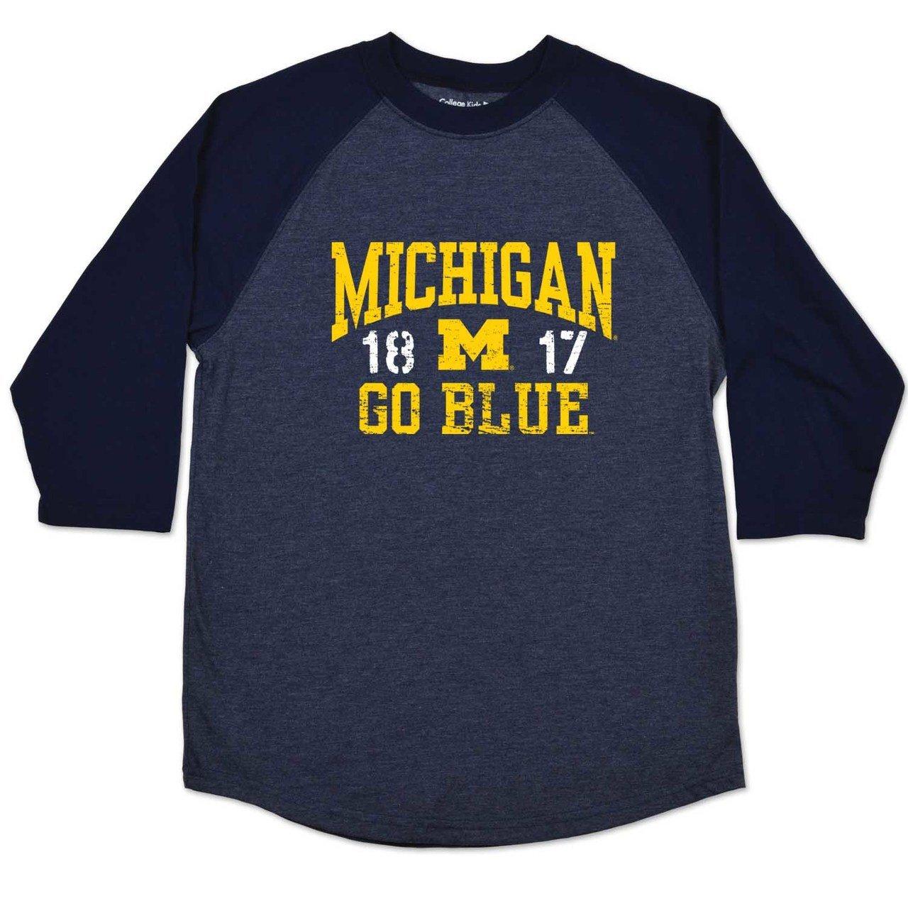online store 4757a e8337 Amazon.com   College Kids Michigan Wolverines Youth NCAA Home Run Raglan T- Shirt - Navy,   Clothing