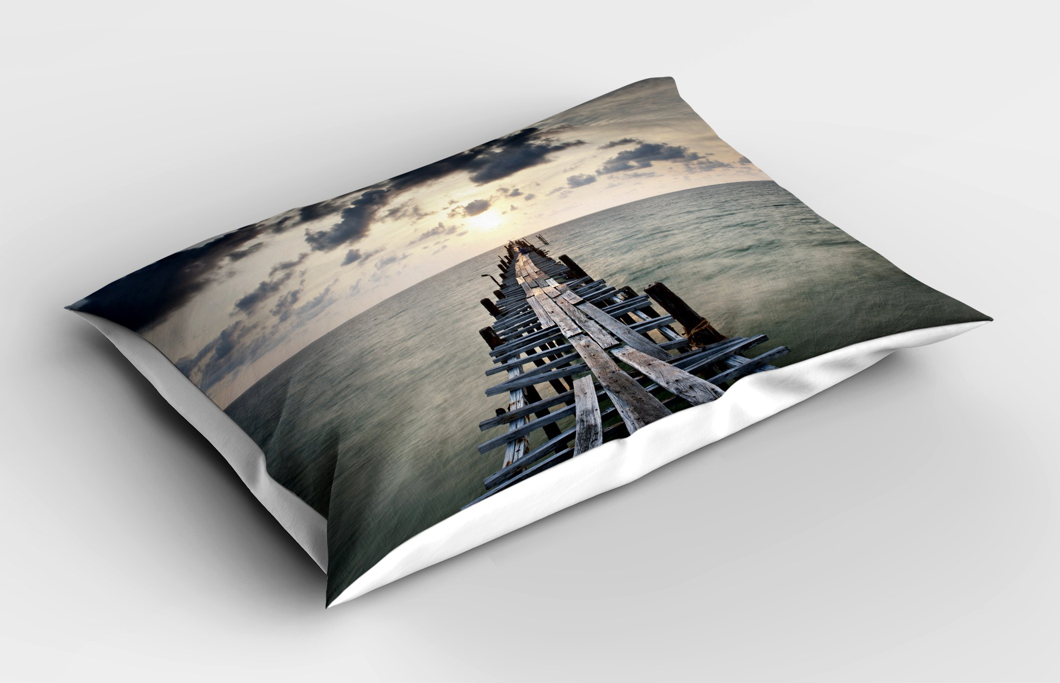 Lunarable Landscape Pillow Sham, Old Wood Bridge Sea Dark Clouds Over Evening Sky Nature Sunset View Seascape, Decorative Standard King Size Printed Pillowcase, 36 X 20 inches, Charcoal Grey by Lunarable (Image #2)