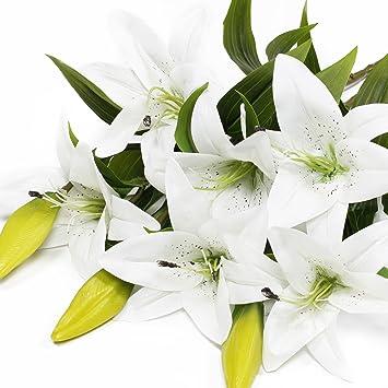 Weisse Lilie Bush Kunstliche Blume Epctek Lilie Real Touch Parfum