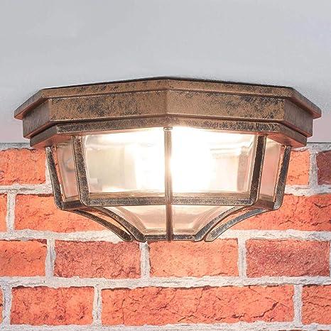Lámpara de techo nostálgica para lámpara de exterior de cobre envejecido / IP44 / aluminio fundido a presión y cristal / E27 a 60W / lámpara de techo ...