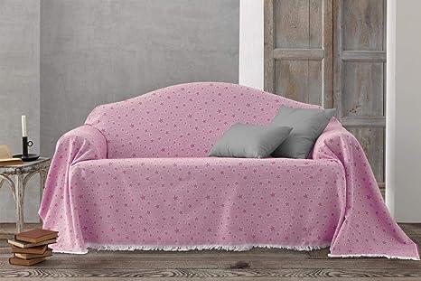 HIPERMANTA Colcha Foulard Multiusos Jacquard Modelo Estrellas para sofá y para Cama, Algodón-Poliéster, 180x285 cms. Rosa.