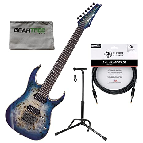 Ibanez rg1027pbfcbb RG Premium (7 cuerdas Guitarra eléctrica Cerulean Blue Burst W/funda,