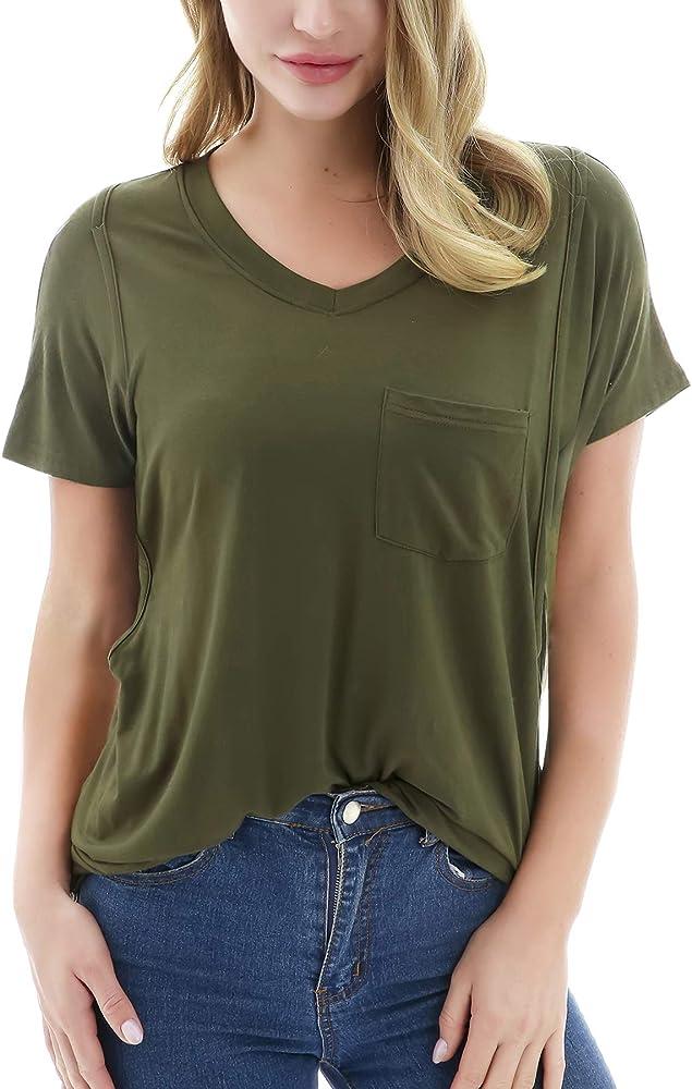 Smallshow Women S V Neck Nursing Tops Shirts Casual Pocket Breastfeeding Clothes Army Green Small At Amazon Women S Clothing Store
