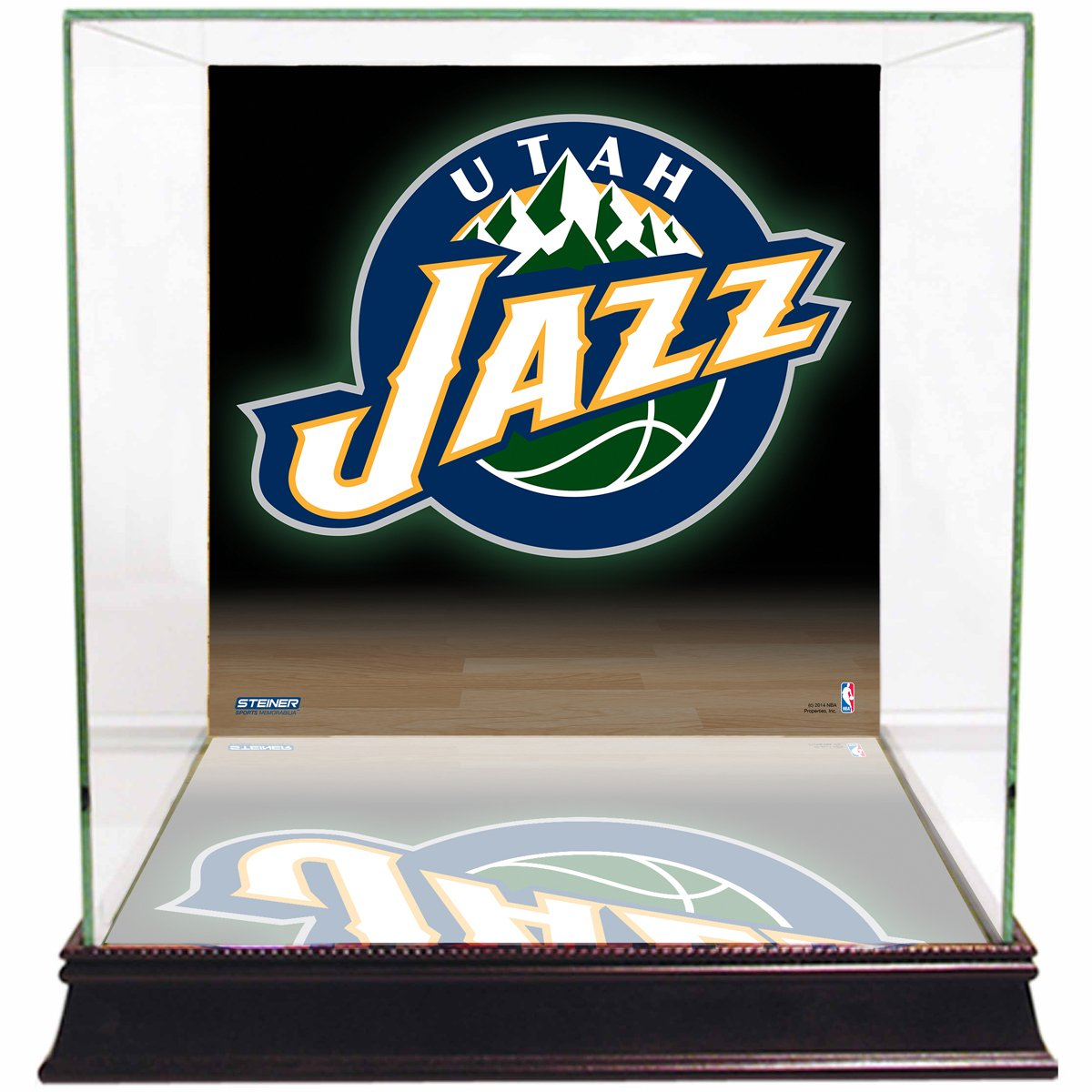 NBA Utah Jazz Glass Basketball Display Case with Team Logo Background by Steiner Sports