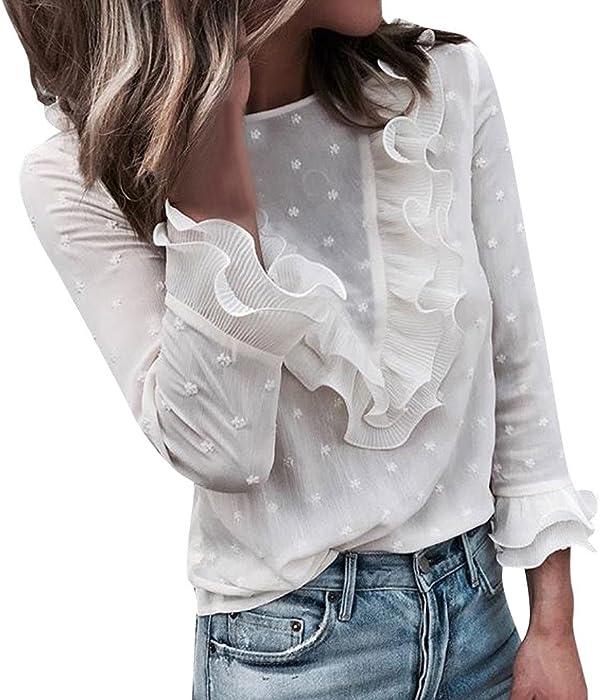 Blusa de Encaje para Mujer, Mujer Damas Casual Encaje Lunares O Cuello Camiseta Manga Larga Tops Blusa Absolute