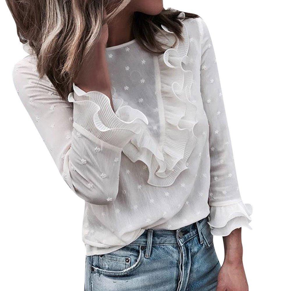 Women Lace Polka Dot O-Neck Sweet Long Sleeve Tops T-Shirt White