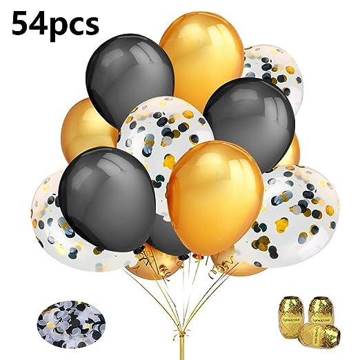 Aperil Set de globos de oro negro, globos de confeti de oro negro Decoración de cumpleaños con 50 piezas Globos de látex de oro negro 3 piezas Cintas ...