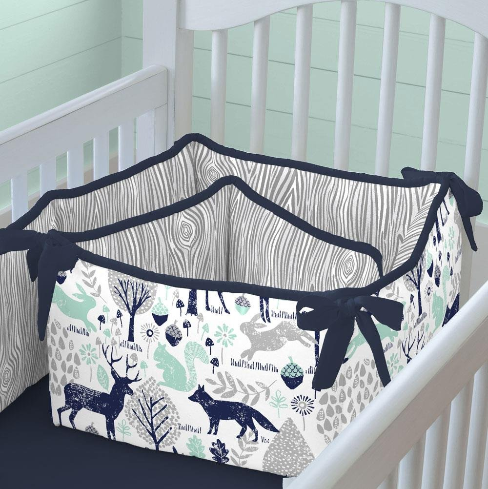 Carousel Designs Navy and Mint Woodlands Crib Bumper