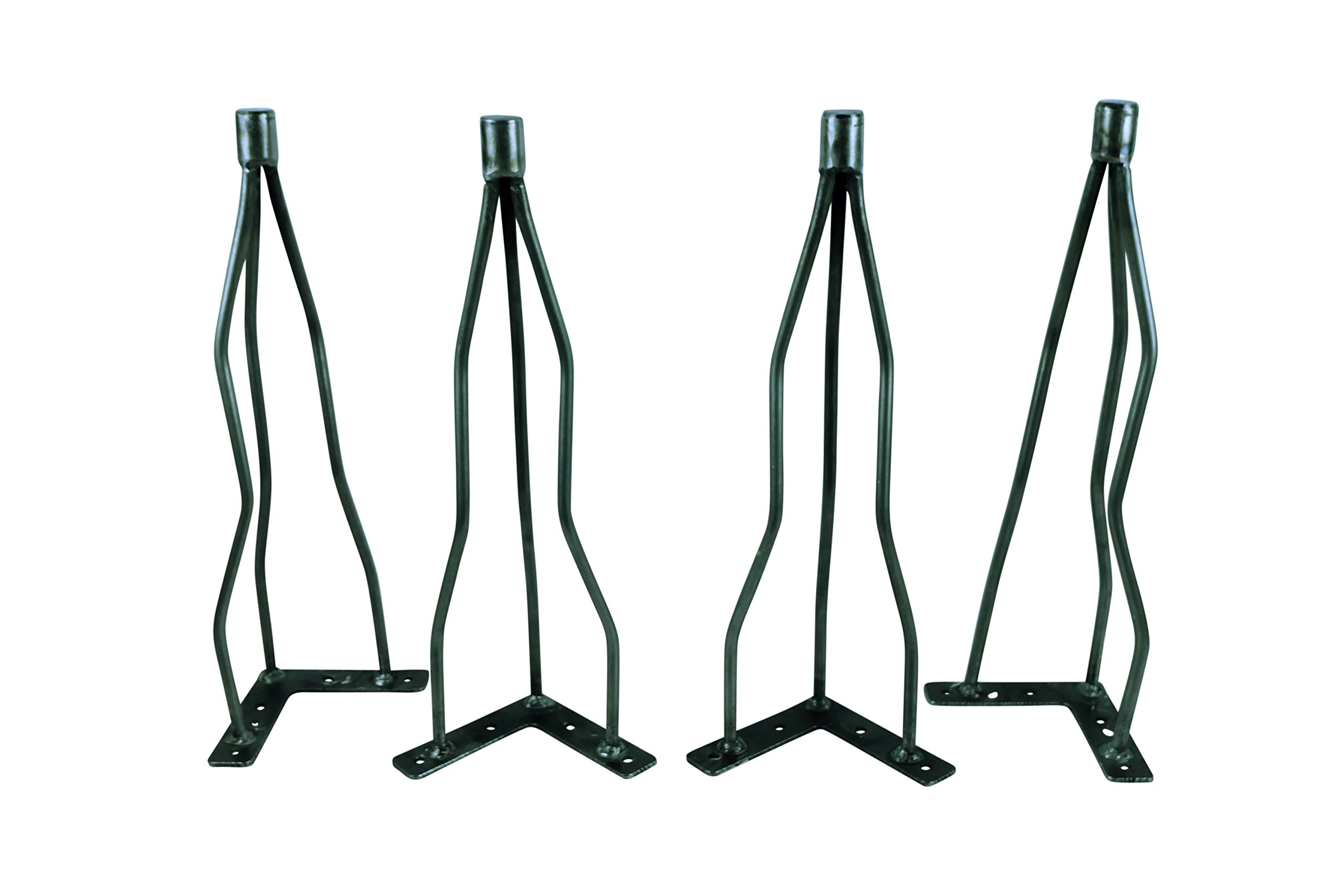 30'' Tall Curvy Hairpin Legs, 3/8'' Solid Steel, Unfinished Raw Steel, Set of 4