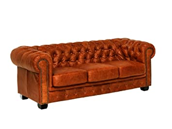 Woodkings Chesterfield Sofa 3 Sitzer Braun Cracker Echtleder Couch