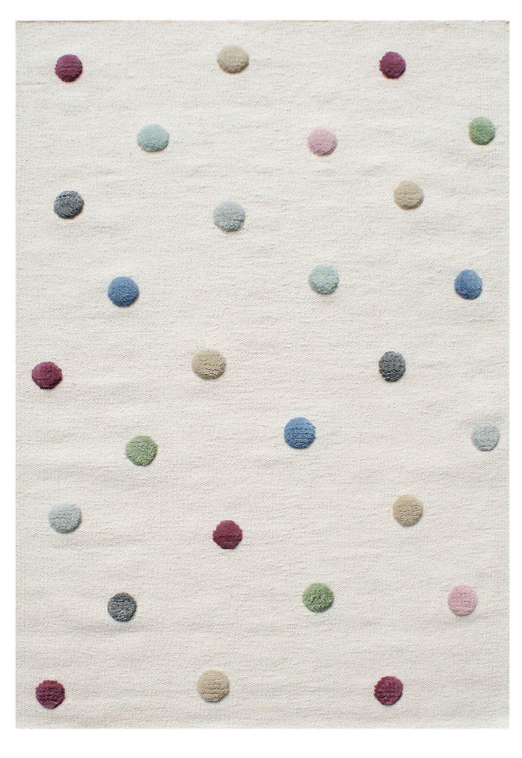 Livone Hochwertiger Jugendteppich aus Wolle Kinderzimmer Kinderteppich in Natur mit Punkten in rot blau grün Mint grau rosa Größe 100 x 160 cm