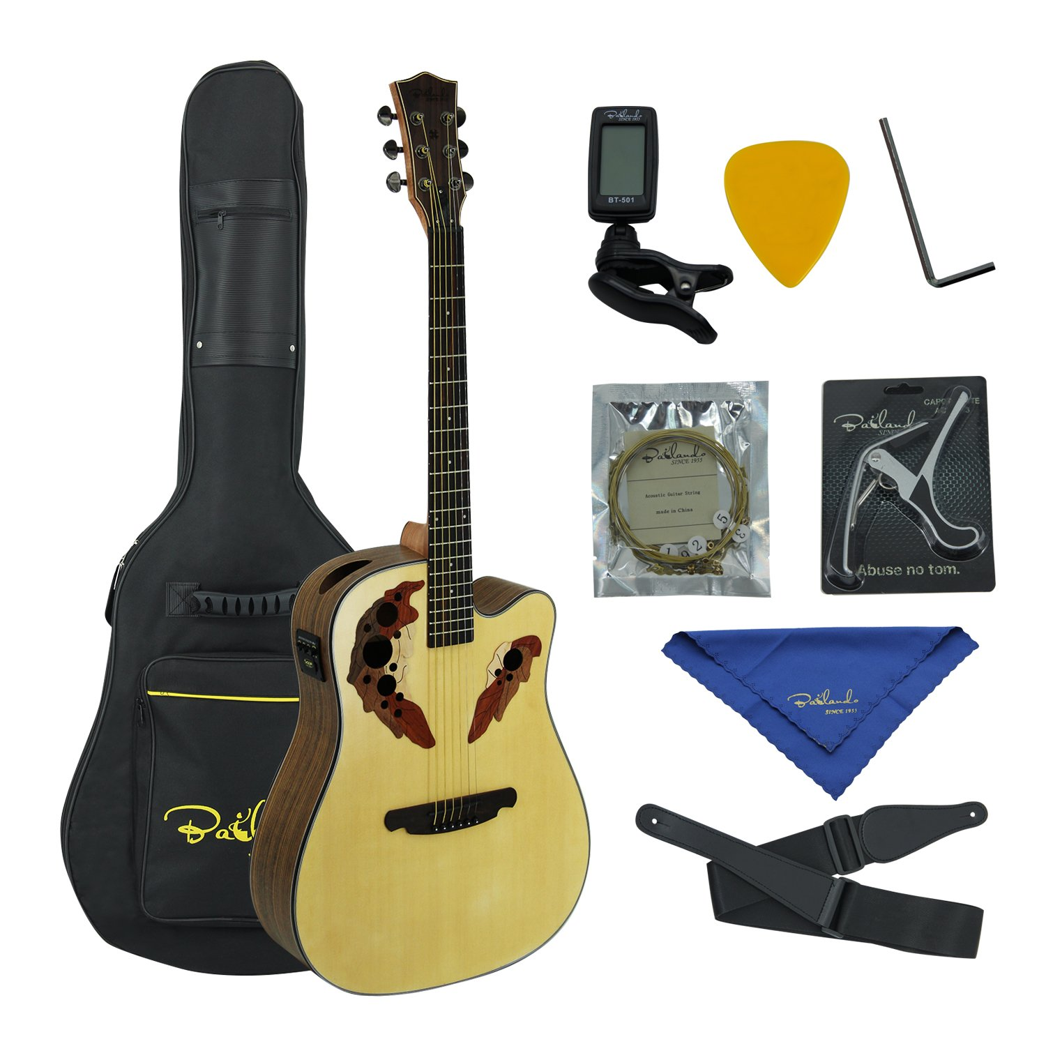 bailando 41 inch acoustic electric cutaway guitar top