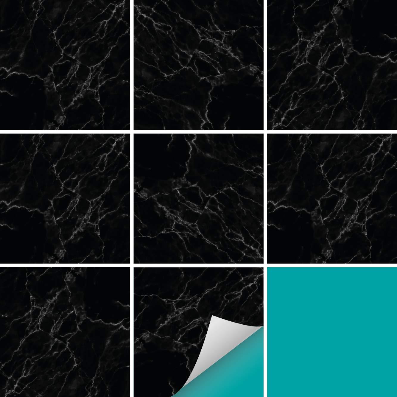 PrintYourHome Fliesenaufkleber für Küche und Bad     Dekor Marmor Weiß Schwarz   Fliesenfolie für 15x15cm Fliesen   152 Stück   Klebefliesen günstig in 1A Qualität B07GT2LHFG Fliesenaufkleber db2ba9