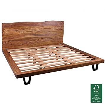 Wohnling Bettgestell Massivholz Sheesham Bett 180x200 Cm Doppelbett