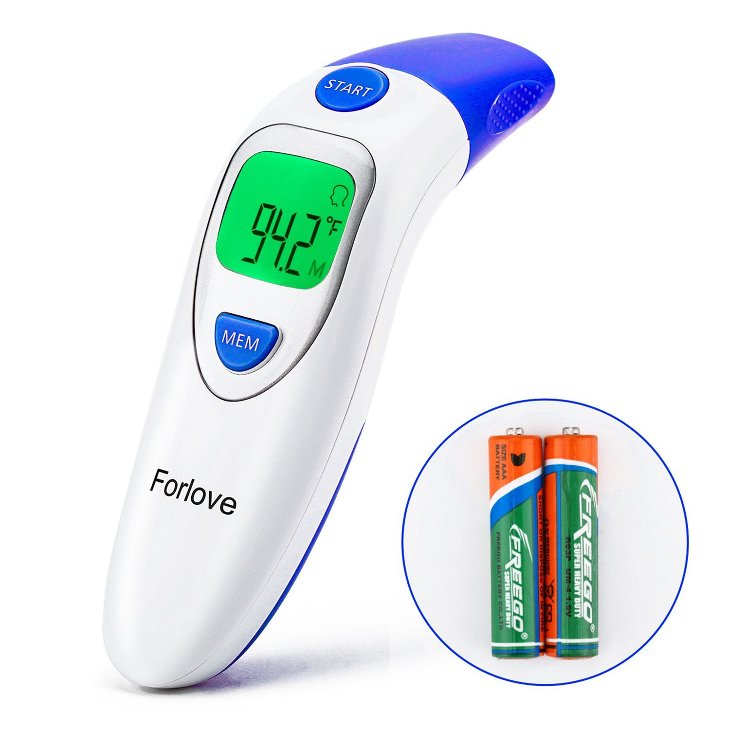 Infrared Thermometer, Forlove Digital Ear and Forehead Thermometer Professional 4 in 1 Suitable for Baby, Kids, Adults - FDA Approved (Dark Blue)