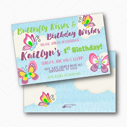 Amazon Butterfly Kisses Kids Birthday Party Invitations