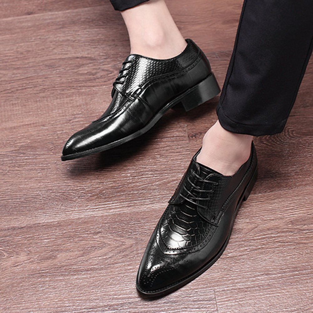 M US WQX Mens Lace up Fashion Style Comfortable Leather Shoes up to 13 D