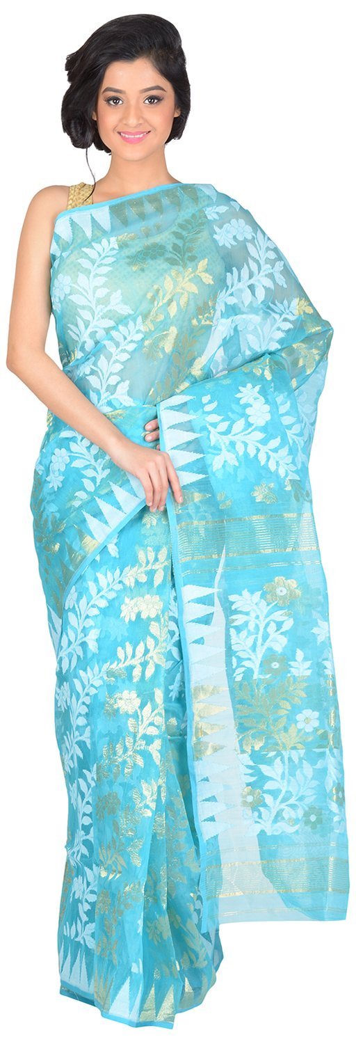 RLB Fashion Women's Cotton Silk Handloom Dhakai Jamdani Saree Free Size Blue