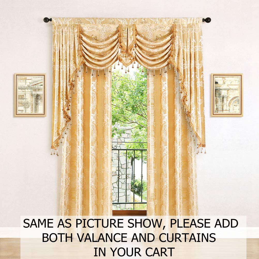 -2 Tie Back Included Pack of 2 elkca Jacquard Luxury Curtains Panels Window Curtains for Living Room,Grommet Top Damask-Blue, 52 W x 63 L