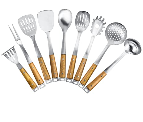 Ordinaire Kitchen Maestro, Stainless Steel Utensil Set With Acacia Wood Grips (9)