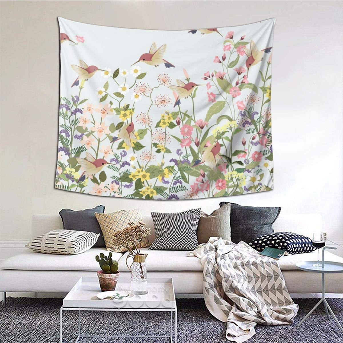 N/W Sweet Floral Flower in Garden Tapestry Beautiful Hummingbird Tapestry Wall Hanging for Home Decor Wall Hanging Living Room Bedroom Dorm(60 X 51 Inches)