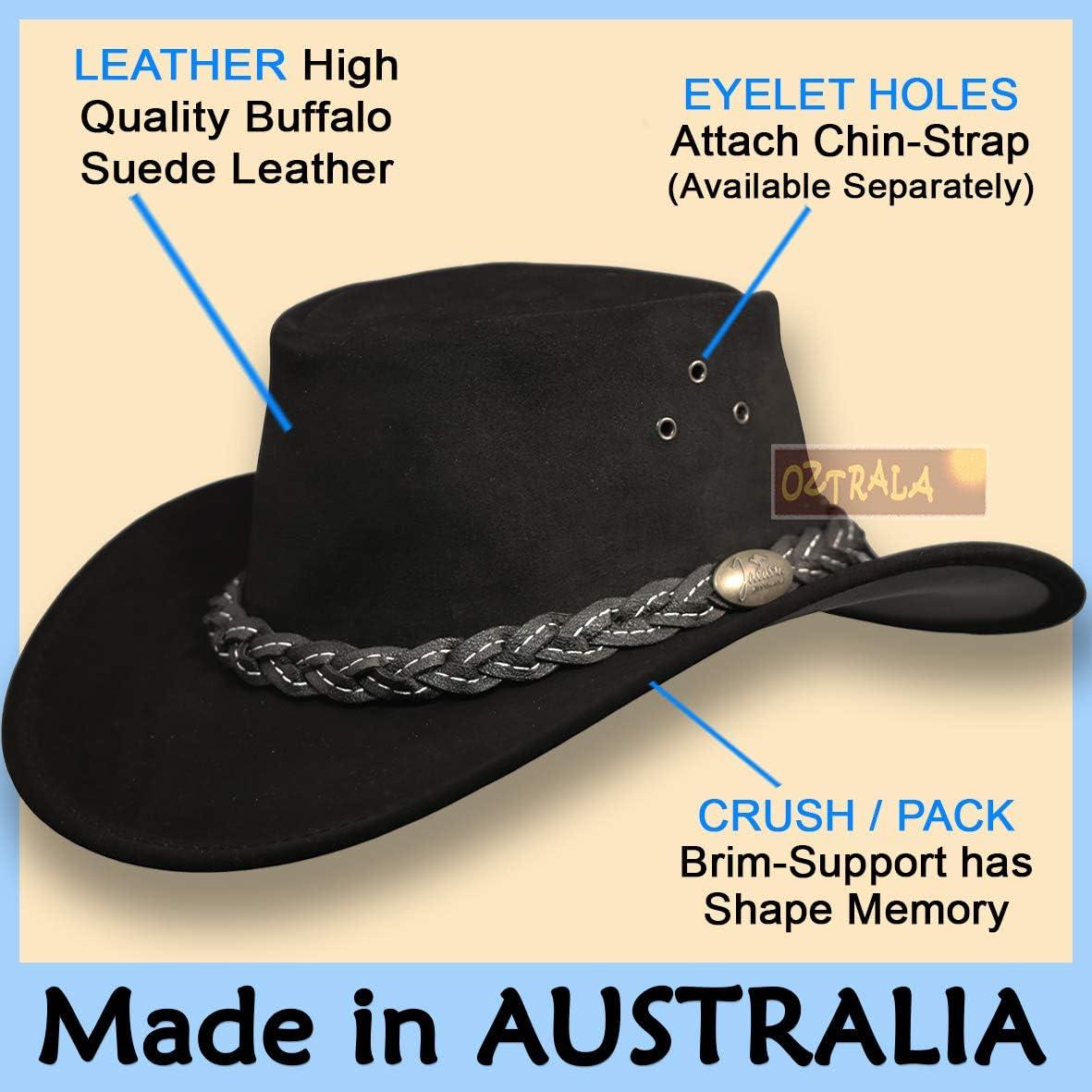 AUSTRALIAN SOUVENIRS AUSTRALIAN BLACK OUTBACK HAT WITH CHIN STRAP