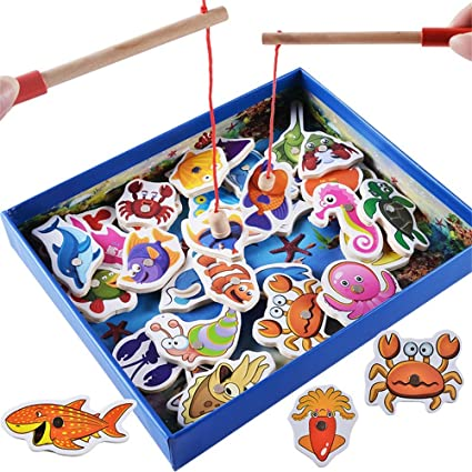 Toys & Hobbies 32 Pcs Wooden Magnetic Fishing Toys Set Toddlers Wooden Magnetic Puzzle Board Fish Game For Kid Children Baby Toddler Grade Products According To Quality