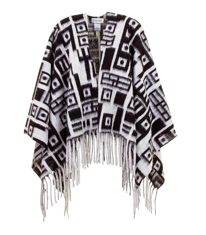 Chalou Damen Fransen Strick Poncho Winterponcho Pullover Cape , Schwarz Weiß