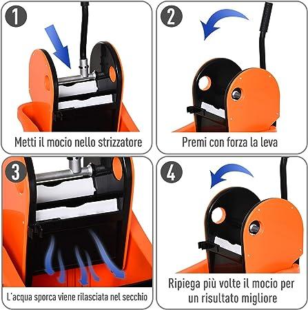 HOMCOM Secchio per Mocio Professionale 36L Arancione e Nero Carrello Lavapavimenti con Strizzatore Manuale e 2 Secchi