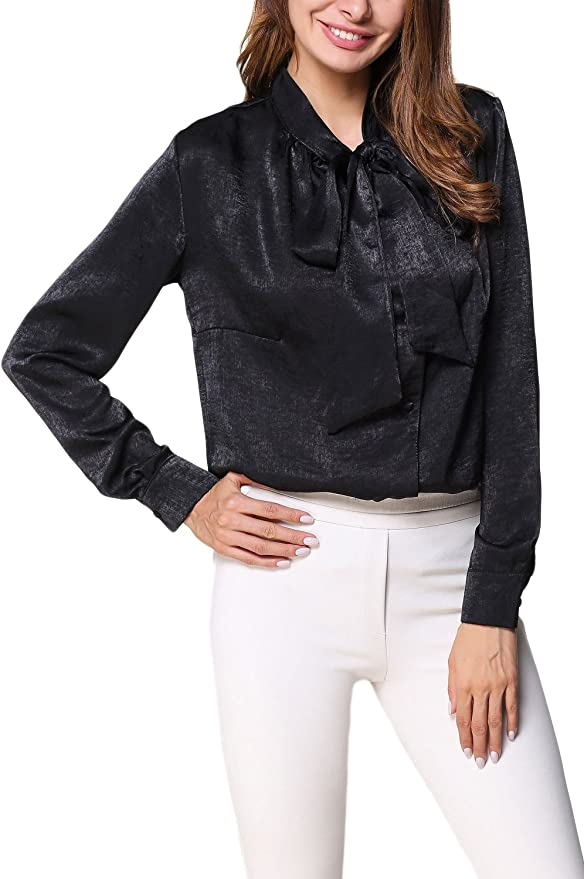 Womens Long Sleeve Pussy Bow Tie Blouse Casual Office OL Work Silk Shirt Top Tee