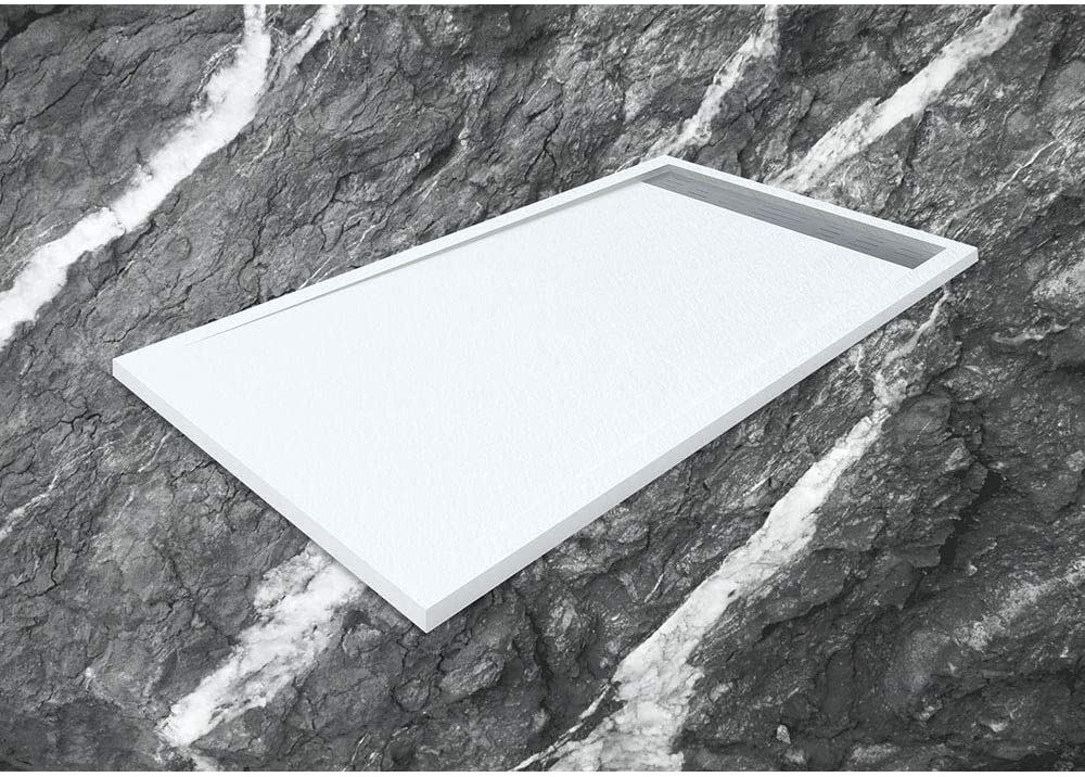 Caribe Plato de Ducha de Resina con Carga Mineral con Marco 80x120 Cm Blanco