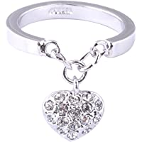 Acefeel White Gold Plated Pave Crystal Heart Charm Ring Rose Gold Plated Valentine's Day Gift